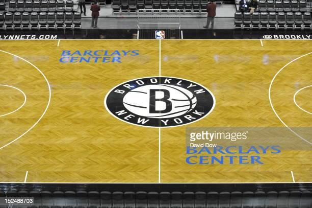 September 21: A general view of the Brooklyn Nets court and logo during the Barclays Center ribbon cutting ceremony on September 21, 2012 at the...