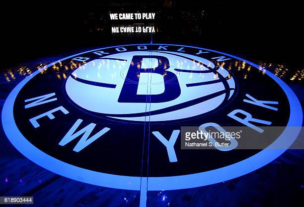 A general view of the Brooklyn Nets logo before a game against the Indiana Pacers on October 28 2016 at Barclays Center in Brooklyn New York NOTE TO...