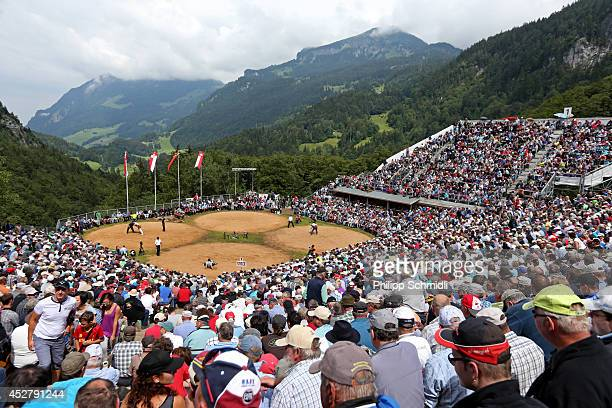 General view of the Bruenig Arena during the Alpine Wrestling Festival BruenigSchwinget at the top of the Bruenig Pass on July 27 2014 in Meiringen...