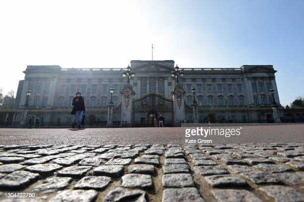 General view of the Buckingham Palace on March 01, 2021 in London, England. The Duke of Edinburgh was today transferred from King Edward VII's...