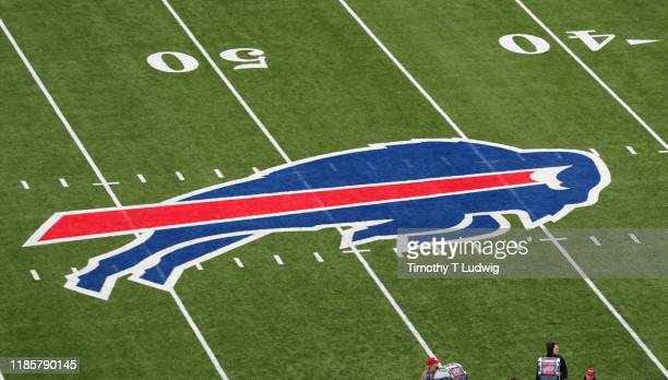 A general view of the Buffalo Bills logo at New Era Field before a game against the Washington Redskins on November 3 2019 in Orchard Park New York...