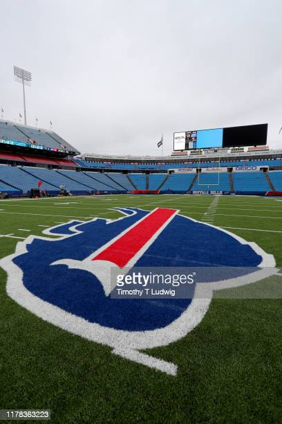 A general view of the Buffalo Bills logo at the center of the field before a game against the New England Patriots at New Era Field on September 29...