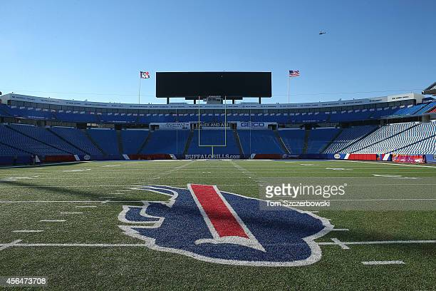 A general view of the Buffalo Bills logo decal at midfield after the Buffalo Bills NFL game against the San Diego Chargers at Ralph Wilson Stadium on...