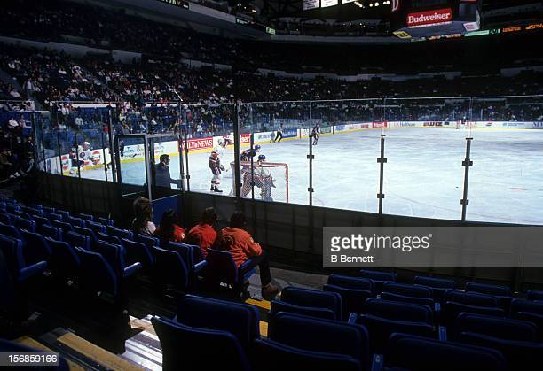 General view of the Buffalo Sabres and the New York Islanders game circa 1990's at the Nassau Coliseum in Uniondale New York