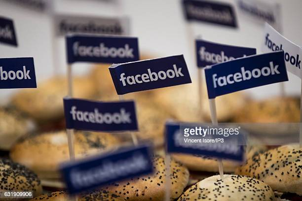A general view of the buffet in the color of Facebook after a press conference in which Facebook announced a plan to support startups at the future...