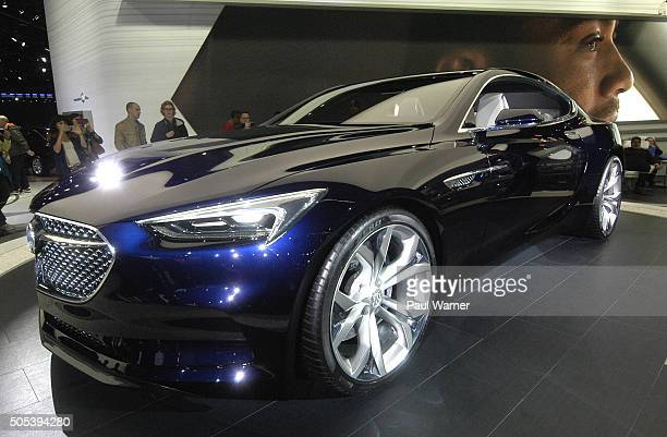 General view of The Buick Avista concept car on the opening day of the 2016 North American International Auto Show at Cobo Hall on January 16 2016 in...