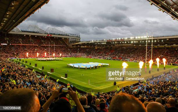 A general view of the build up to the match inside Old Trafford during the Betfred Super League Grand Final match between Wigan Warriors and...