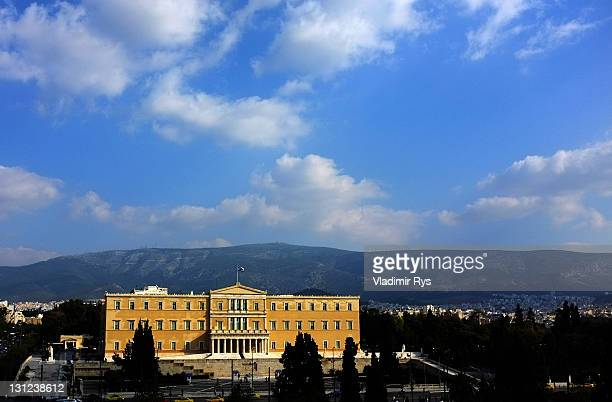 General view of the building of the Greek Parliament on the Syntagma Square is pictured on November 03, 2011 in Athens, Greece. Greece's Prime...