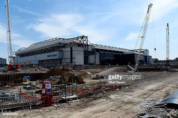 A general view of the building site where the new stadium will be built prior to the Barclays Premier League match between Tottenham Hotspur and...