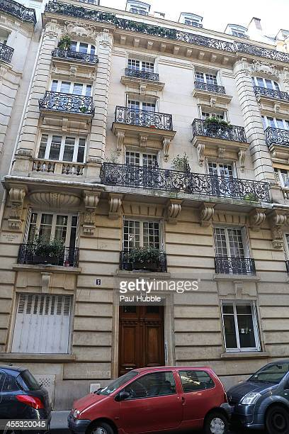 A general view of the building where reportedly british photographer Kate Barry was found dead on the pavement beneath her parisian appartment on...