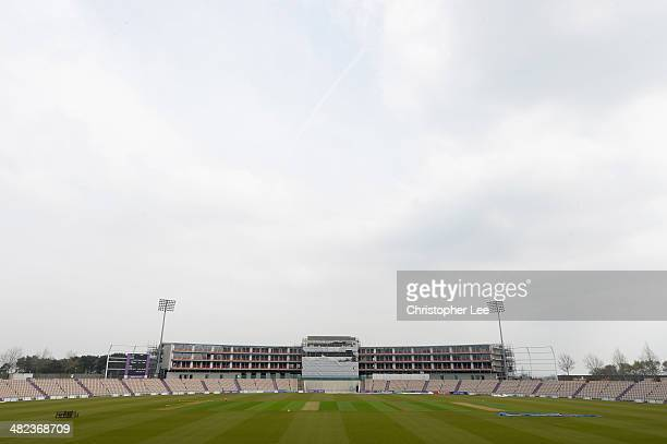 General view of the building work at the Ageas Bowl during the Hampshire CCC Photcall at the Ageas Bowl on April 3 2014 in Southampton England