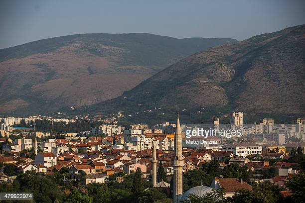 General view of the buildings destroyed during Bosnian war and mosques on July 8, 2015 in Mostar, Bosnia and Herzegovina. The newly-identified...