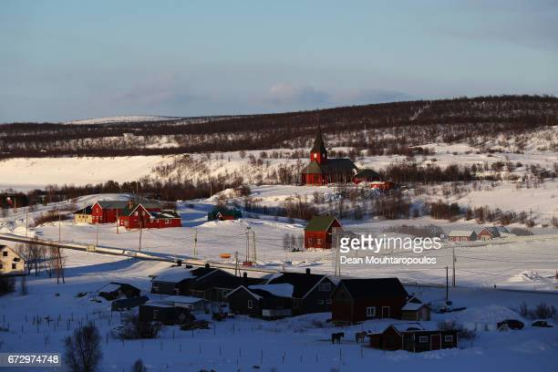 A general view of the buildings houses and church all covered in snow of the town called Kautokeino on March 27 2017 in Finnmark Norway