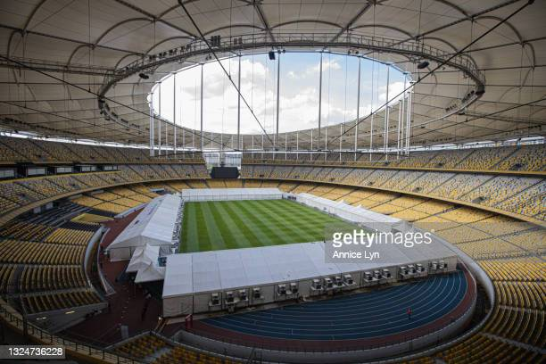 General view of the Bukit Jalil National Stadium vaccination centre on June 21, 2021 in Kuala Lumpur, Malaysia. The Bukit Jalil National Stadium...