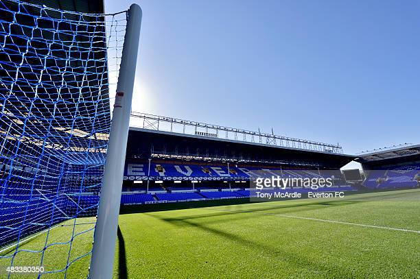 General view of the Bullens Road Stand at Goodison Park before the Premier League match between Everton and Watford at Goodison Park on August 08,...