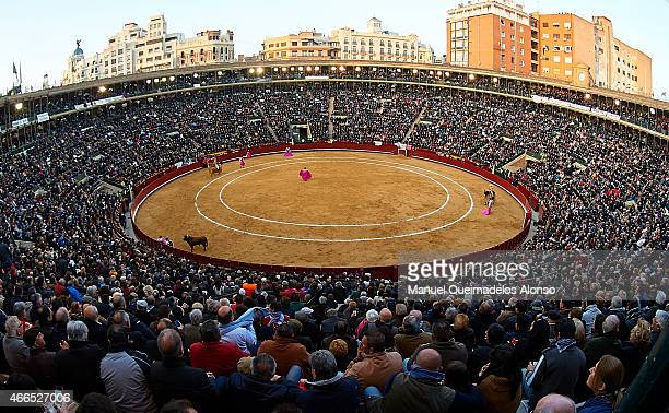 A general view of the bullring during a bullfighting as part of the Las Fallas Festival in a bullfight on March 16 2015 in Valencia Spain
