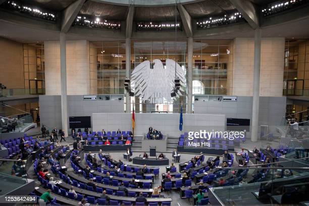 General view of the Bundestag as German Chancellor Angela Merkel speaks on behalf of the federal government during a question and answer session at...