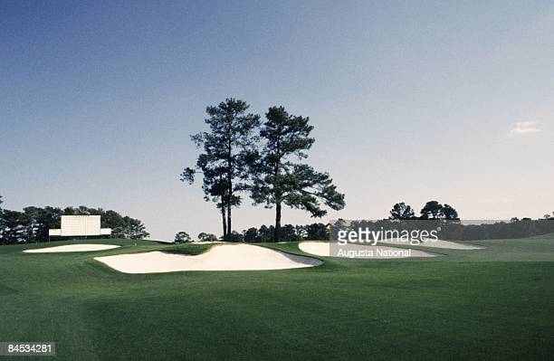 A general view of the bunkers on the seventh green with a leader board in the background at the Augusta National Golf Club on April 1995 in Augusta...