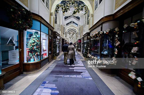 A general view of the Burlington Arcade window display on December 2 2013 in London England