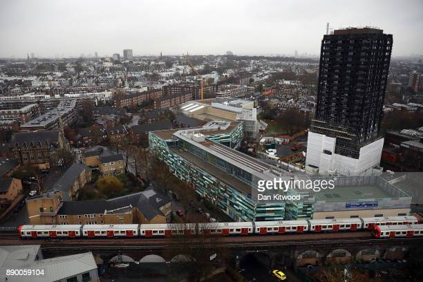 A general view of the burnt out Grenfell Tower on December 11 2017 in London England An inquiry into the Grenfell Tower fire was is due to open for...