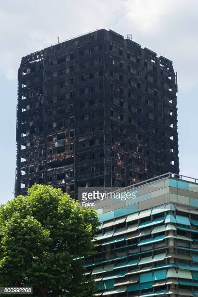 A general view of the burnt out remains of Grenfell Tower in Latimer Road North Kensington June 18th 2017 4 days earlier a huge fire had engulfed the...