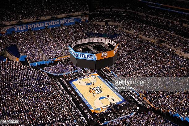 General view of the Butler Bulldogs playing against the Duke Blue Devils during the 2010 NCAA Division I Men's Basketball National Championship game...