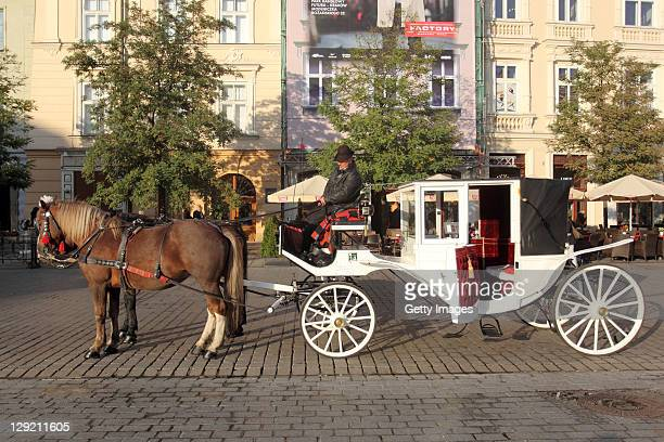 General View of the cabs in the Old Town on October 13 2011 in Krakow Poland