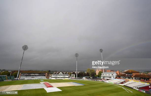 A general view of the CACG as play is abandoned for the day during Day One of the Specsavers County Championship Division One match between Somerset...