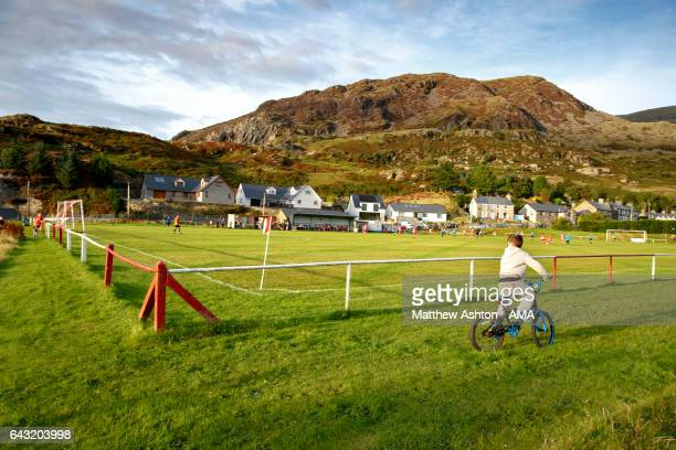 A general view of the Cae Clyd ground home of Blaenau Ffestiniog Amateur FC a Welsh football club based in the town of Blaenau Ffestiniog during the...
