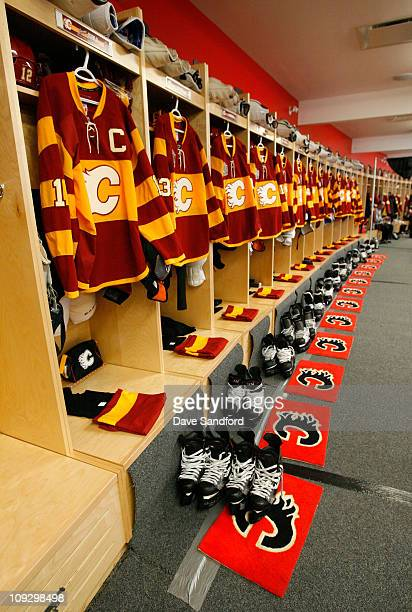 A general view of the Calgary Flames locker room prior to practice for the 2011 Tim Hortons Heritage Classic at McMahon Stadium on February 19 2011...