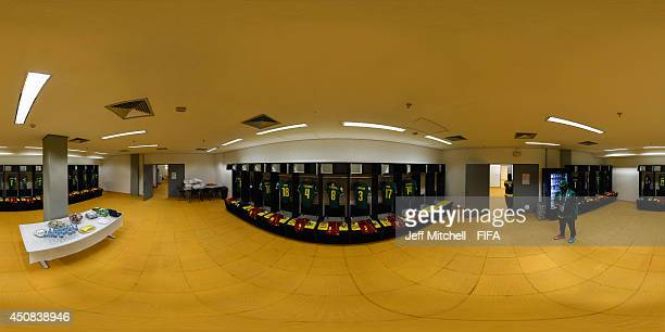 General view of the Cameroon dressing room ahead of the 2014 FIFA World Cup Brazil Group A match between Cameroon v Croatia at Arena Amazonia on June...