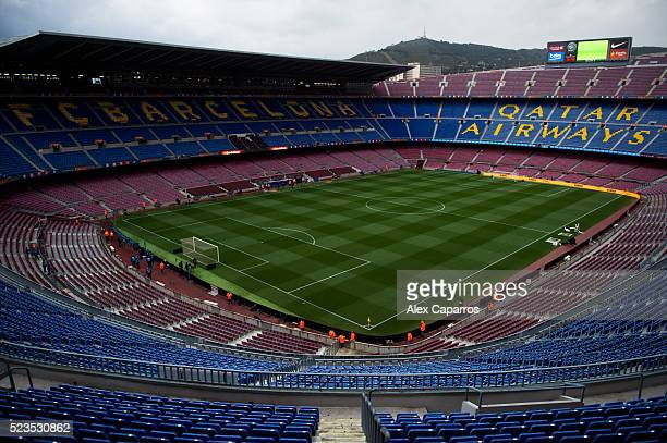 A general view of the Camp Nou stadium ahead of the La Liga match between FC Barcelona and Sporting Gijon at Camp Nou on April 23 2016 in Barcelona...