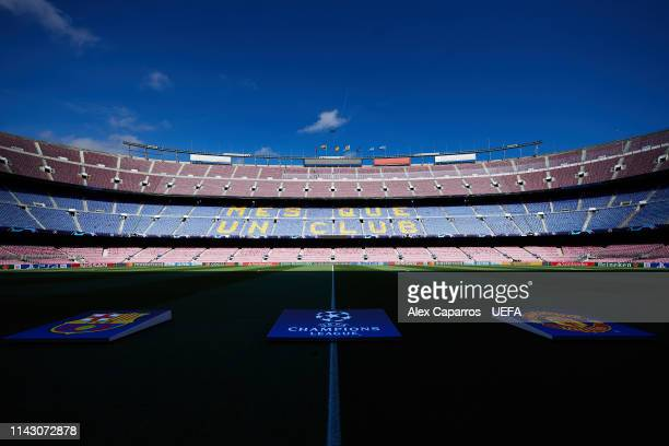 A general view of the Camp Nou stadium ahead of the UEFA Champions League Quarter Final second leg match between FC Barcelona and Manchester United...