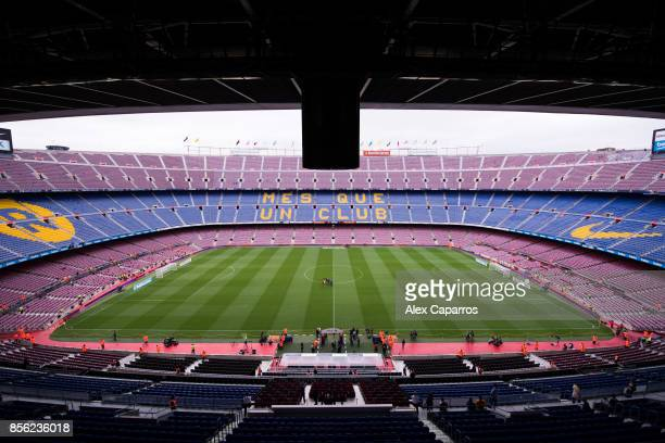 A general view of the Camp Nou stadium as players of UD Las Palmas check the pitch ahead of the La Liga match between Barcelona and Las Palmas at...