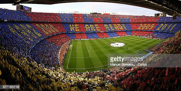 General view of the Camp Nou Stadium as supporters of FC Barcelona raise a tifo before the UEFA Champions League semifinal first leg match between FC...