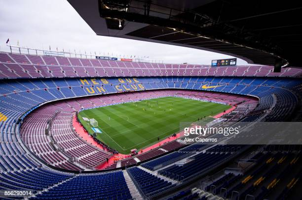 A general view of the Camp Nou stadium during the La Liga match between Barcelona and Las Palmas at Camp Nou on October 1 2017 in Barcelona Spain The...