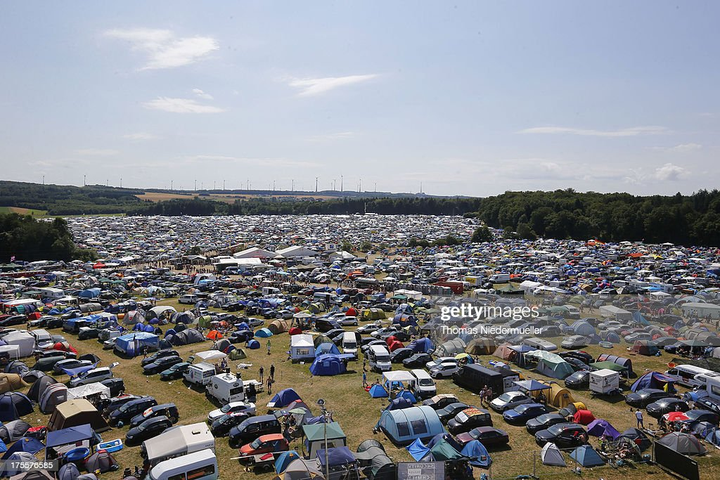 General view of the camping village of 'Nature One' massive rave, held at the former US rocket base Pydna on August 3, 2013 in Kastellaun, Germany.