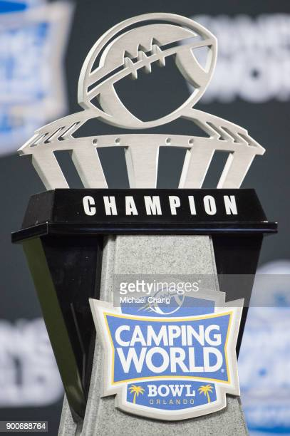 General view of the Camping World Bowl Championship trophy after the matchup between the Oklahoma State Cowboys and the Virginia Tech Hokies on...