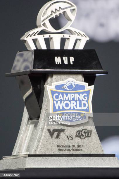General view of the Camping World Bowl MVP trophy after the matchup between the Oklahoma State Cowboys and the Virginia Tech Hokies on December 28...
