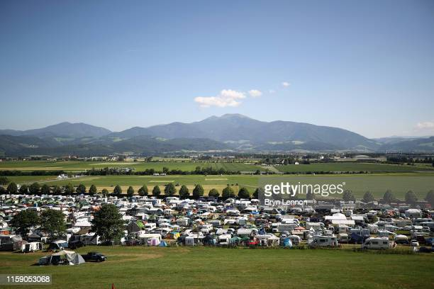 A general view of the campsites around the circuit after qualifying for the F1 Grand Prix of Austria at Red Bull Ring on June 29 2019 in Spielberg...