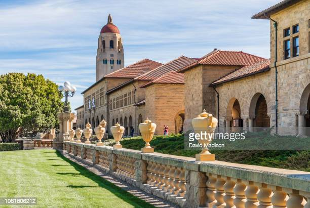 General view of the campus of Stanford University including Hoover Tower and buildings of the Main Quadrangle before an NCAA Pac-12 college football...