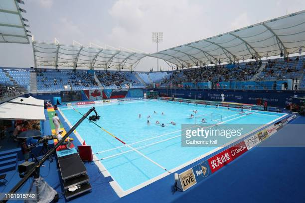 General view of the Canada and Russia Women's match during day 2 of the Water Polo during the Gwangju 2019 FINA World Championships at Nambu...