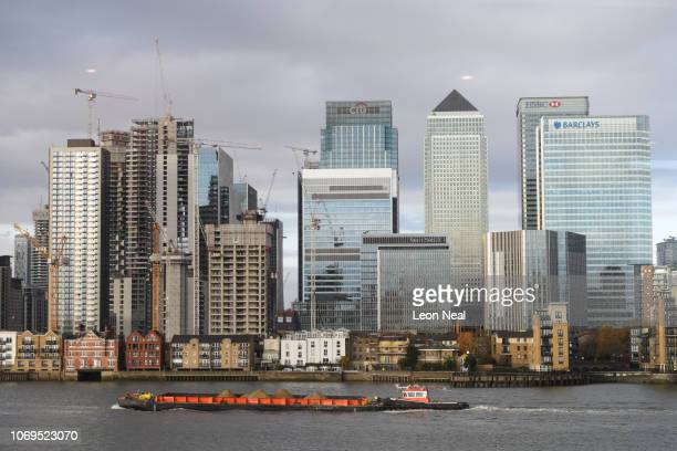 A general view of the Canary Wharf business district ahead of the beginning of the annual CBI conference on November 19 2018 in London England The...