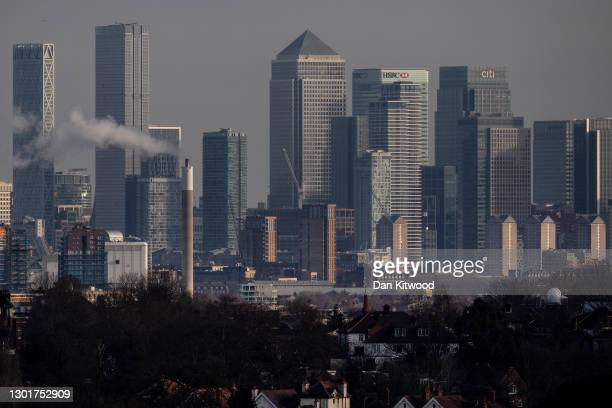 General view of the Canary Wharf business district on February 12, 2021 in London, England. The ONS figures released today show that the UK Economy...