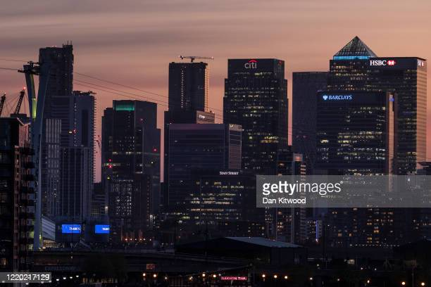 General view of the Canary Wharf business district skyline on April 21, 2020 in London, England. The British government has extended the lockdown...