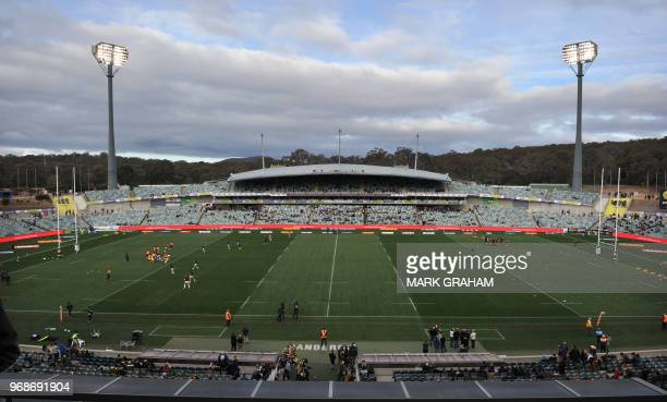 General view of the Canberra Stadium before the Super Rugby match between the ACT Brumbies and the Japanese Sunwolves in Canberra on June 3, 2018. /...