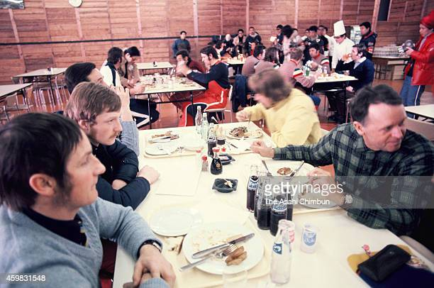 A general view of the canteen of the Athletes Village ahead of the 1972 Sapporo Winter Olympics on Janaury 20 1972 in Sapporo Hokkaido Japan