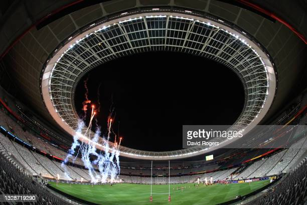 General view of the Cape Town stadium as the teams take the field during the match between South Africa A and the British and Irish Lions at Cape...