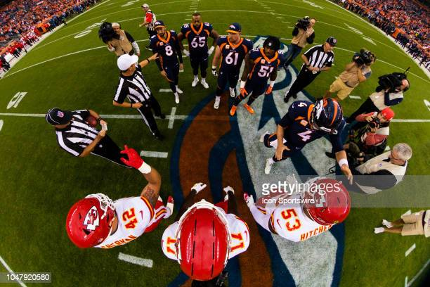 General view of the captains after the coin toss before the NFL regular season football game against the Kansas City Chiefs on October 01 at Broncos...