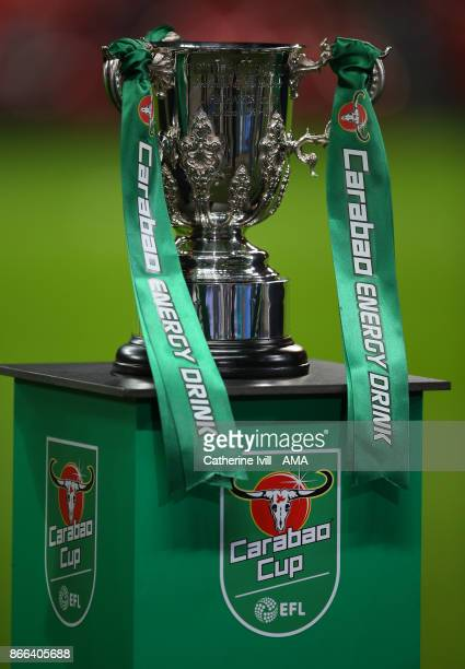 General view of The Carabao Cup trophy before the Carabao Cup Fourth Round match between Tottenham Hotspur and West Ham United at Wembley Stadium on...